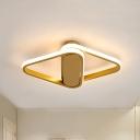 Rhombus Aisle Ceiling Flush Mount Metal Minimalist LED Flush Light Fixture in Gold
