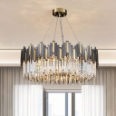 Wavy Prismatic Crystal Hanging Lamp Postmodern 8-Light Dining Room Ceiling Chandelier in Black-Gold