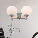 Spherical Wall Mount Lighting Contemporary Milk Glass 2-Bulb Bedside Sconce with Pull Chain in Chrome