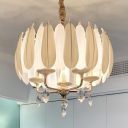 Feather Drum Bedroom Pendant Lamp Ceramic 5-Head White Chandelier with Crystal Drop