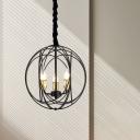 Black Interlocking Rings Chandelier Rustic Iron 3 Bulbs Dining Room Pendant Light Fixture