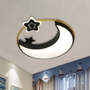 Nordic Crescent And Star Flushmount Acrylic Bedroom LED Ceiling Mount Light Fixture in Black