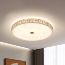 Remote Control Circular LED Flush Light Minimalist Gold Crystal-Encrusted Ceiling Mount Fixture
