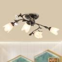 Twisted Bedroom Semi Flush Light Pastoral Cream Glass 4/6/8 Bulbs Bronze Flush Mount Lighting