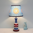 Tapered Shade Child Bedside Night Lamp Star/Car Print Fabric Single Cartoon Table Light in Blue/Yellow