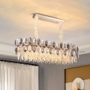 Oval Dining Room Island Lamp Contemporary Crystal 12-Light Clear Pendant Light Fixture