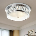Chrome Drum Flush Mount Minimalism Clear Crystal 3 Lights Living Room Flush Light Fixture