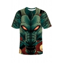 Fashionable Dragon 3D Printed Short Sleeve Crew Neck Loose T Shirt in Green