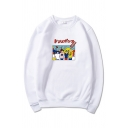 Casual Mens Cartoon Characters Pattern Japanese Letter Long Sleeve Crew Neck Regular Fit Graphic Pullover Sweatshirt