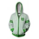 Trendy Green Number 10 Stripe Printed Long Sleeve Drawstring Zip up Relaxed Hoodie for Men