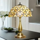 Gold 2-Light Nightstand Lamp Mediterranean Shell Flower Night Lighting with Pull Chain for Bedroom