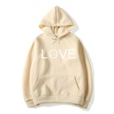 Simple Mens Sad Emoji Pattern Letter Love Drawstring Pocket Long Sleeve Regular Fitted Hoodie