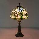 1 Head Bedside Nightstand Lamp Mediterranean Red/Blue/Purple Bloom Patterned Table Light with Bowl Stained Glass Shade