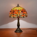 1 Head Bedroom Night Lighting Victorian White/Yellow/Orange Dragonfly Patterned Table Light with Bowl Hand Cut Glass Shade