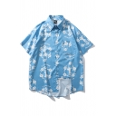 Simple Blue Mens Characeter Floral Letter Chinktwice Printed Button up Point Collar Short Sleeve Loose Fitted Shirt with Pocket