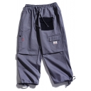 Cool Mens Colorblock Flap Pocket Drawstring Cuffed Mid Rise Loose Fitted Cropped Cargo Pants