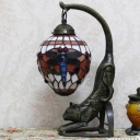 Handcrafted Glass Red/Green Table Light Ellipsoid Single Tiffany Nightstand Lamp with Dragonfly Pattern