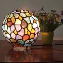 Globe Stained Glass Night Lighting Mediterranean 1 Bulb Blue Finish Table Light for Bedroom
