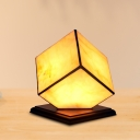 1 Head Bedroom Nightstand Lamp Tiffany Yellow Plug In Cord Night Light with Cubic Beige Glass Shade
