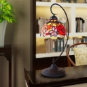Victorian Bowl Night Lighting 1-Head Stained Glass Nightstand Lamp in Black with Rose Pattern