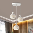 Simplicity Dome Shade Metal Cluster Pendant 3 Lights Crystal Hanging Light Kit in White
