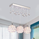 Teardrop Multi-Light Pendant Contemporary Inserted Crystal 3-Head Dining Room Hanging Lamp in White