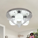 Modernism Orb Flush Mount 3 Lights White Glass Flush Light Fixture with Crystal Accent