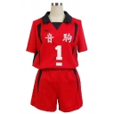Popular Mens Number 5 Print Contrasted Short Sleeve Spread Collar Loose Tee Top & Elastic Waist Relaxed Shorts Set in Red