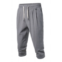Simple Mens Plain Pocket Drawstring Mid Rise Regular Fitted Capris Pants