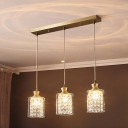 Clear Glass Cylinder Multi Pendant Modernist 3 Heads Pendulum Light in Gold with Inner Crystal Deco