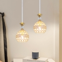 Orb Dining Room Hanging Pendant Crystal Embedded 1 Light Contemporary Pendulum Light in Gold