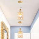 Minimalist Cylinder Crystal Ceiling Pendant 1-Head Suspension Lighting Fixture in Gold for Corridor
