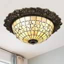 Brass Hemisphere Ceiling Flush Tiffany 3 Bulbs Shell Flush Mount Lighting with Carved Edge