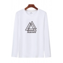 Popular Mens Letter Ausventi Triangle Graphic Long Sleeve Round Neck Loose T Shirt