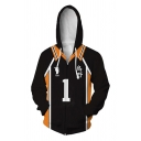 Classic 3D Striped Number Pattern Drawstring Long Sleeve Regular Fit Hoodie for Men
