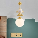 Gold Monkey Sleeping Pendant Light Kit Kids 1 Bulb Resin Down Lighting with Ball Opal Glass Shade