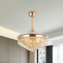 Modernism Conic Hanging Fan Light Faceted Crystal Living Room LED Semi Flush Mount in Gold with 5 Clear Blades, 19.5