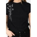 Casual Floral Printed Rolled Short Sleeve Crew Neck Regular Fit Tee Top in Black