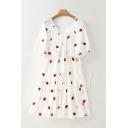 White Allover Strawberry Embroidered Short Sleeve Surplice Neck Bow Tie Waist Ruffled Trim Pretty Mid Pleated A-line Dress