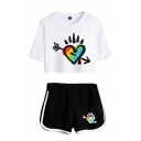 Fashion Colorful Heart Pattern Short Sleeve Crew Neck Fit Cropped Tee & Contrasted Relaxed Shorts Set