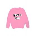 Street Girls Letter Thank U Next Print Long Sleeve Crew Neck Loose Pullover Sweatshirt