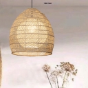 Adjustable Woven Pendant Lighting Nordic 1 Bulb Handmade Rattan Hanging Ceiling Light in Beige