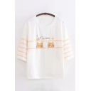 Preppy Girls Letter Sairou Cat Graphic Striped 3/4 Sleeves Round Neck Loose T Shirt