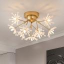 Fireflies Semi Flush Ceiling Light Modern Metal 9 Bulbs Black/Gold Flush Mounted Lamp for Bedroom