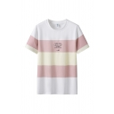 Trendy Letter Printed Contrasted Short Sleeve Crew Neck Loose Fit T Shirt for Guys
