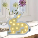 Rabbit Kids Play Room Table Light Wooden Cartoon Style LED Wall Mount Night Lamp in Pink/Blue/Yellow