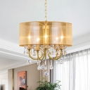Brass 5 Lights Hanging Pendant Rural Fabric Transparent Drum Chandelier Lighting with Crystal Drape