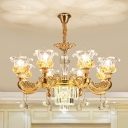 Nordic Style Flower Up Hanging Lighting 8-Light Faceted Crystal Chandelier Pendant Lamp in Gold