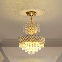 Traditional 2 Layer Chandelier Light Fixture K9 Crystal LED Ceiling Pendant Lamp in Gold