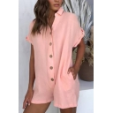 Trendy Solid Color Rolled Short Sleeve Turn-down Collar Button up Relaxed Fit Romper for Girls